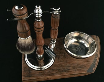 665a66dc4af2 Handmade Scotch Whisky Barrel Oak Shaving Set with Barrel Lid Stand