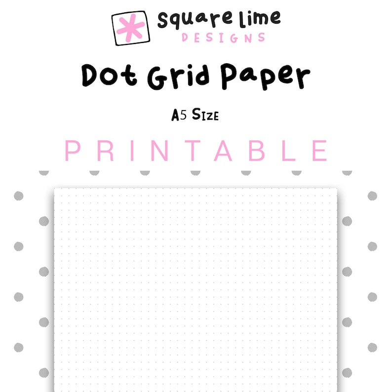 image regarding A5 Dot Grid Printable called Printable Dot Grid Paper, A5 Dimensions Dotted Paper, Bullet Magazine, PDF Printable