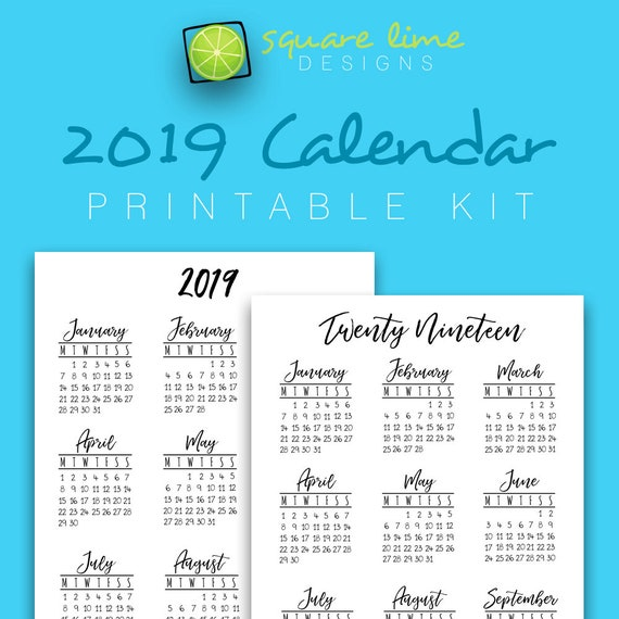 2019 Year At A Glance Printable Calendar Yearly Planner Etsy