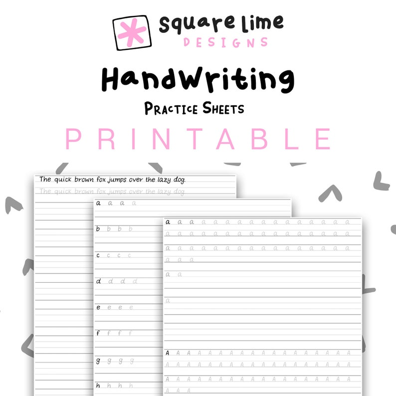 handwriting practice sheets uppercase lowercase etsy. Black Bedroom Furniture Sets. Home Design Ideas