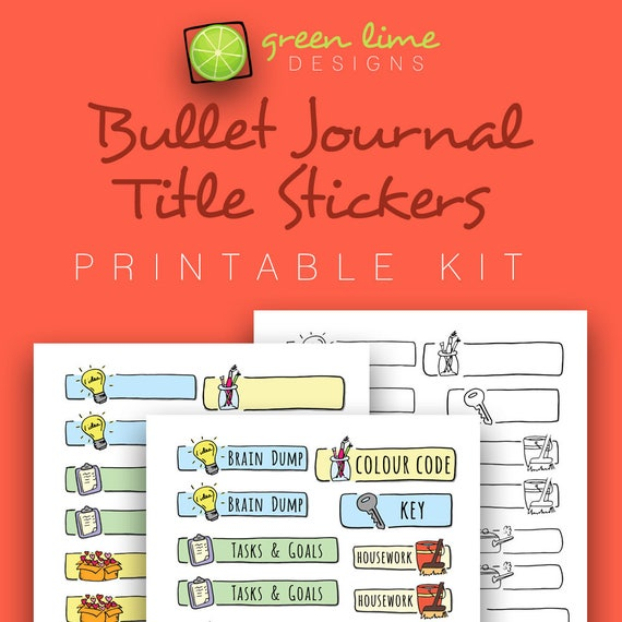 Bullet journal title stickers printable kit hand drawn