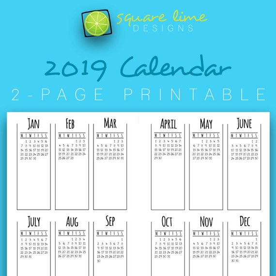 2019 2 Page Printable Calendar Yearly Planner 2019 Etsy