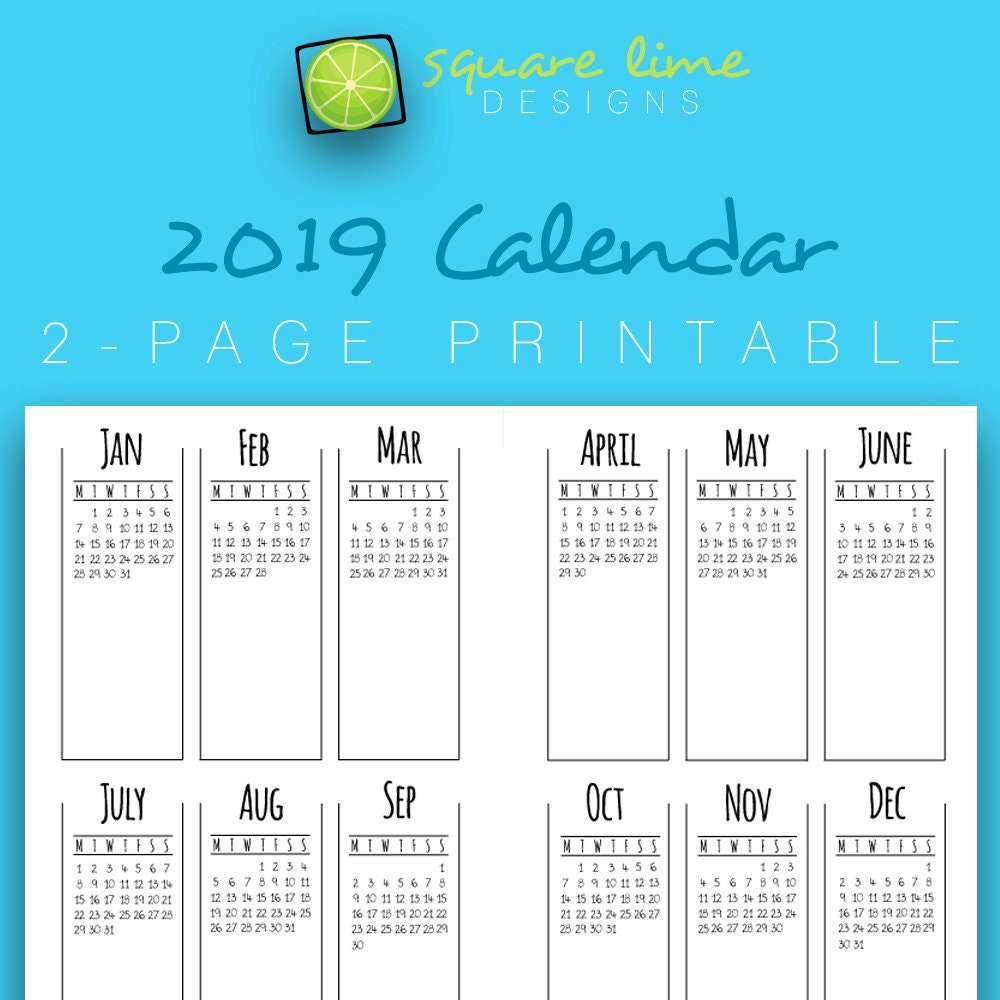 2019 2-Page Printable Calendar / Yearly Planner / 2019 | Etsy