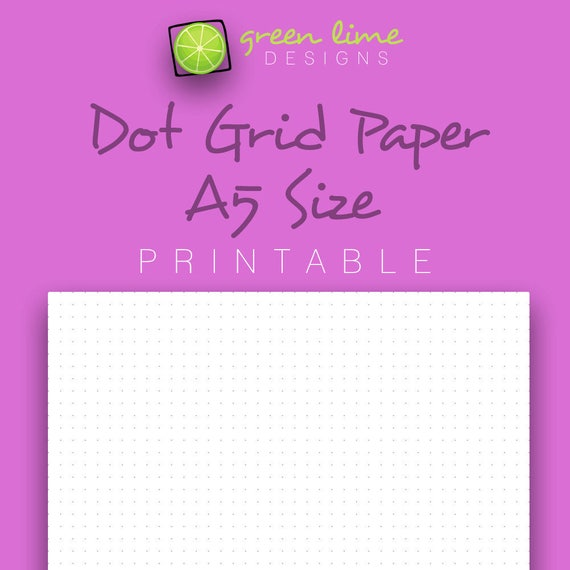 printable dot grid paper a5 size dotted paper bullet etsy