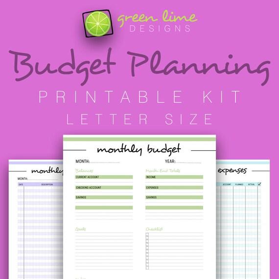 budget planner printable kit expenses income savings bill etsy