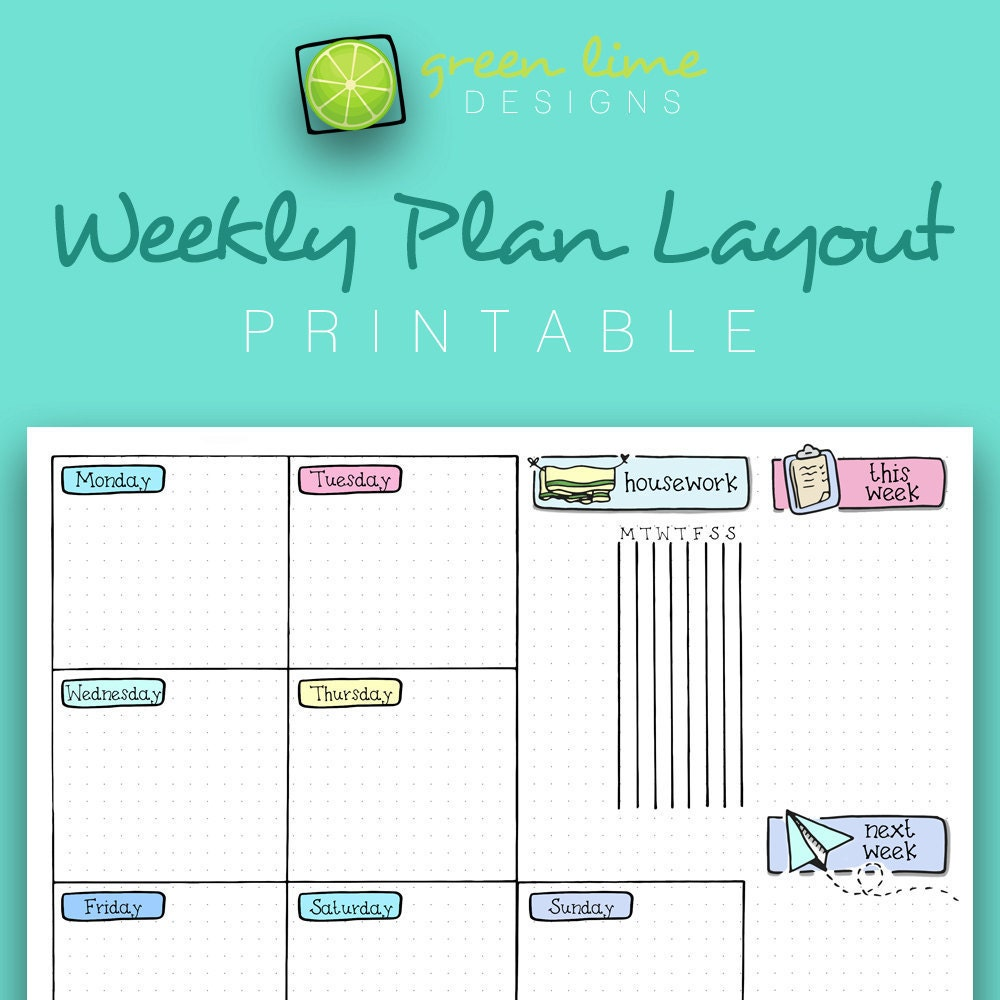 Printable Weekly Plan Layout on Dot Grid Paper Letter Size | Etsy