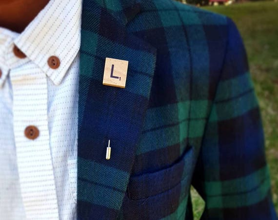 Word Play-Hand Made Artisan Lapel Pin-Choose your letter