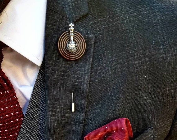 Standing King Chess Piece-Luxury Hand Made Artisan Lapel Pin