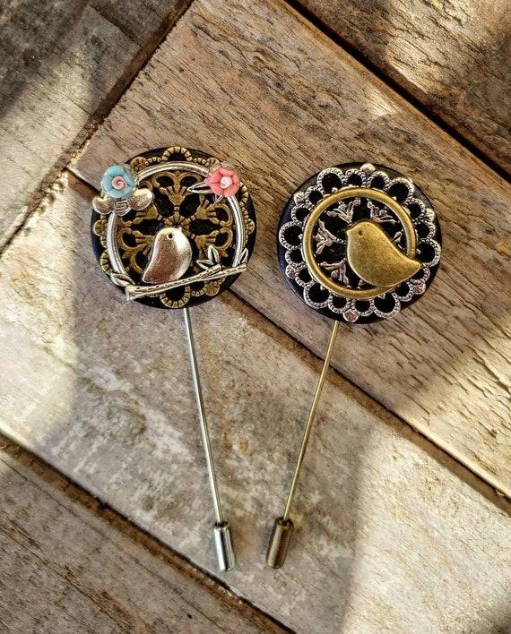 Love Birds-Luxury Hand Made Artisan Lapel Pin Set