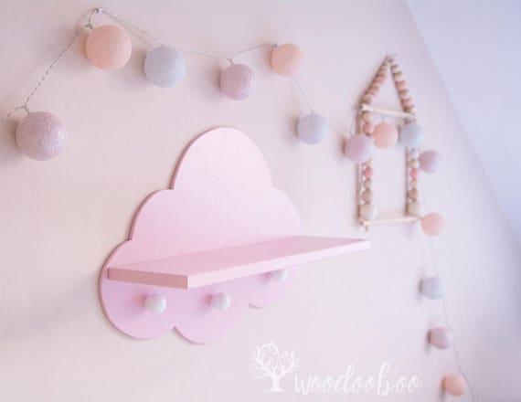 Kinderzimmer Wandregal | Rosa Wolke Regal Kinderzimmer Regal Mit Haken Holz Rack Fur Etsy