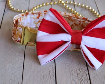 Popcorn Bucket Large Dog Collar Bow tie/ Bow Attachment