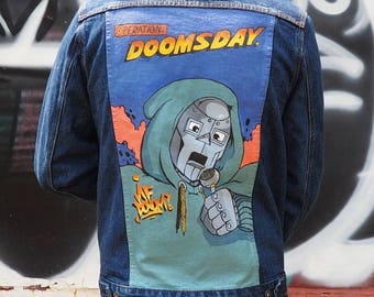 Hand Painted Denim Jacket - MF DOOM Inspired