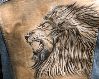 Hand Painted Denim Jacket - Lion and Chinese Characters - Premium Custom Painting