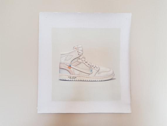 Weiß Jordan 1 weiße Sneaker von Hand auf Leinwand gemalt 10