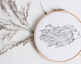 Lady In The Wind | Contemporary  Embroidery Hoop Art