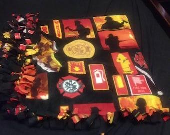 Fire fighter fleece tie blanket