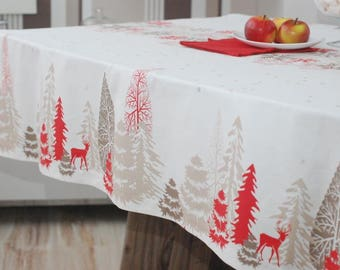 Tablecloth/Cotton Tablecloth/Christmas Tablecloth/White&Red/Tablecloth Rectangle/Christmas gift ideas/Gift for New Year/Custom Tablecloth