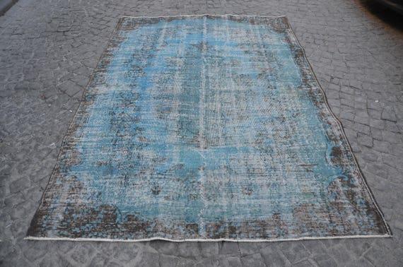Vintage Overdyed Turquoise  Area Rug 81x45 Vintage Handmade Oushak Area Rug Anatolia Wool Rug Carpet Turkish Turquoise Overdyed Rug