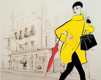 Giclée Print 'Red Umbrella' Fashion Illustration