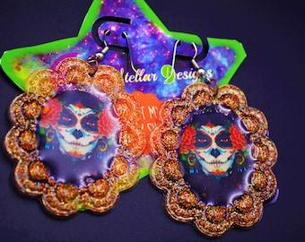 Kawaii Day Of Dead Girl Glitter Earrings