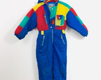8c6cd8aab Vintage 90s color block ski suit snow suit blue boys kids youth sz 11/12 M  primary colors blue red yellow green preschool colors