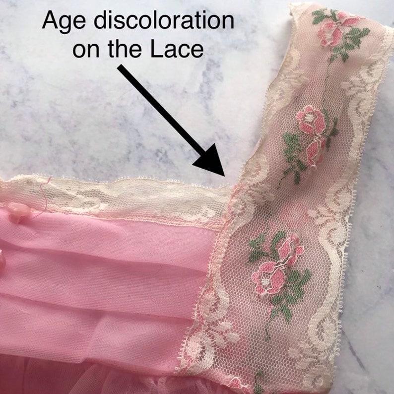 VTG Pink layered nylon Kayser baby doll lingerie pastel Nightgown Womens S NG84