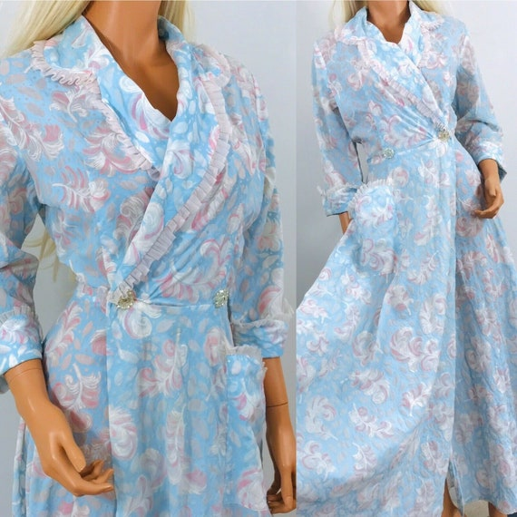 Vintage 1940s robe Feather print novelty pastel bl