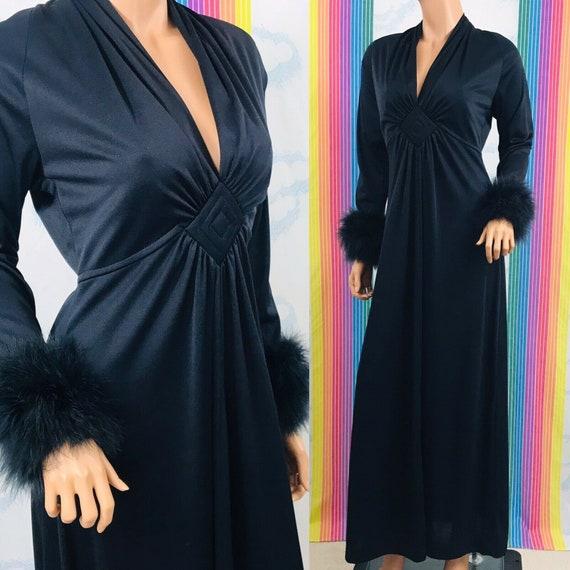 vintage black evening gown dress marabou feather c
