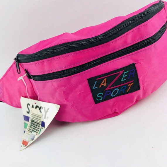 Vintage 80s 90s neon pink LAZER SPORT fanny pack w