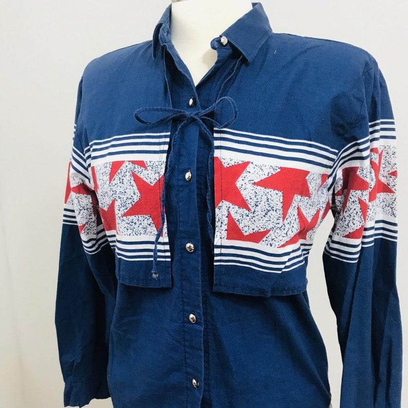 Vintage Roper Border western wear shirt stars Flap USA red white blue womens T49