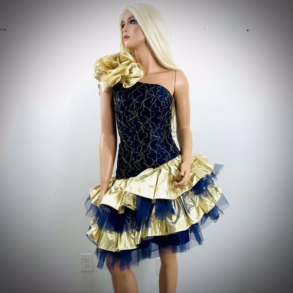 vintage 1980s Loralie gold blue lace ruffled prom