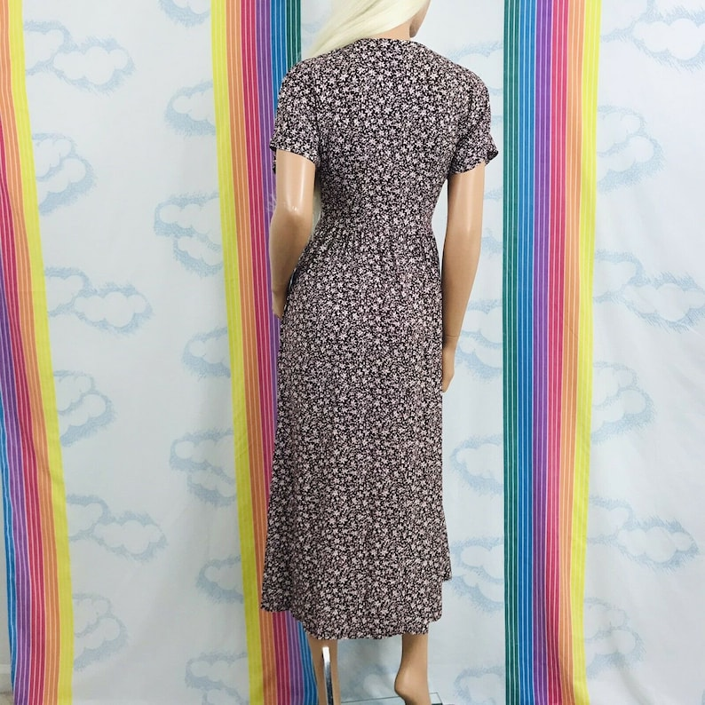 vintage All That Jazz small print floral burgundy wine short sleeve size 56 D44