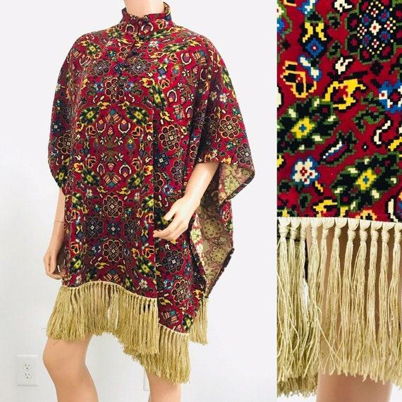Vintage 60s Charm Of Hollywood Velvet Tapestry Red