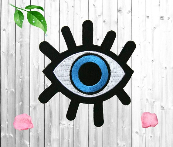 Pair Cartoon Eyeballs Embroidered Iron On Applique Patch 2 Inch