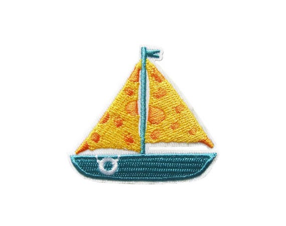 Iron on Sailboat with Flag Applique Patch