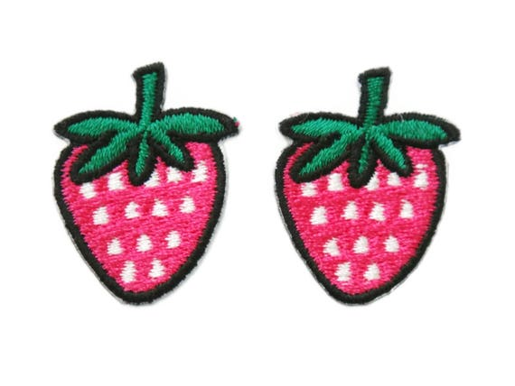 CUTE PRETTY PINK STRAWBERRY Embroidered Iron on Patch Free Postage