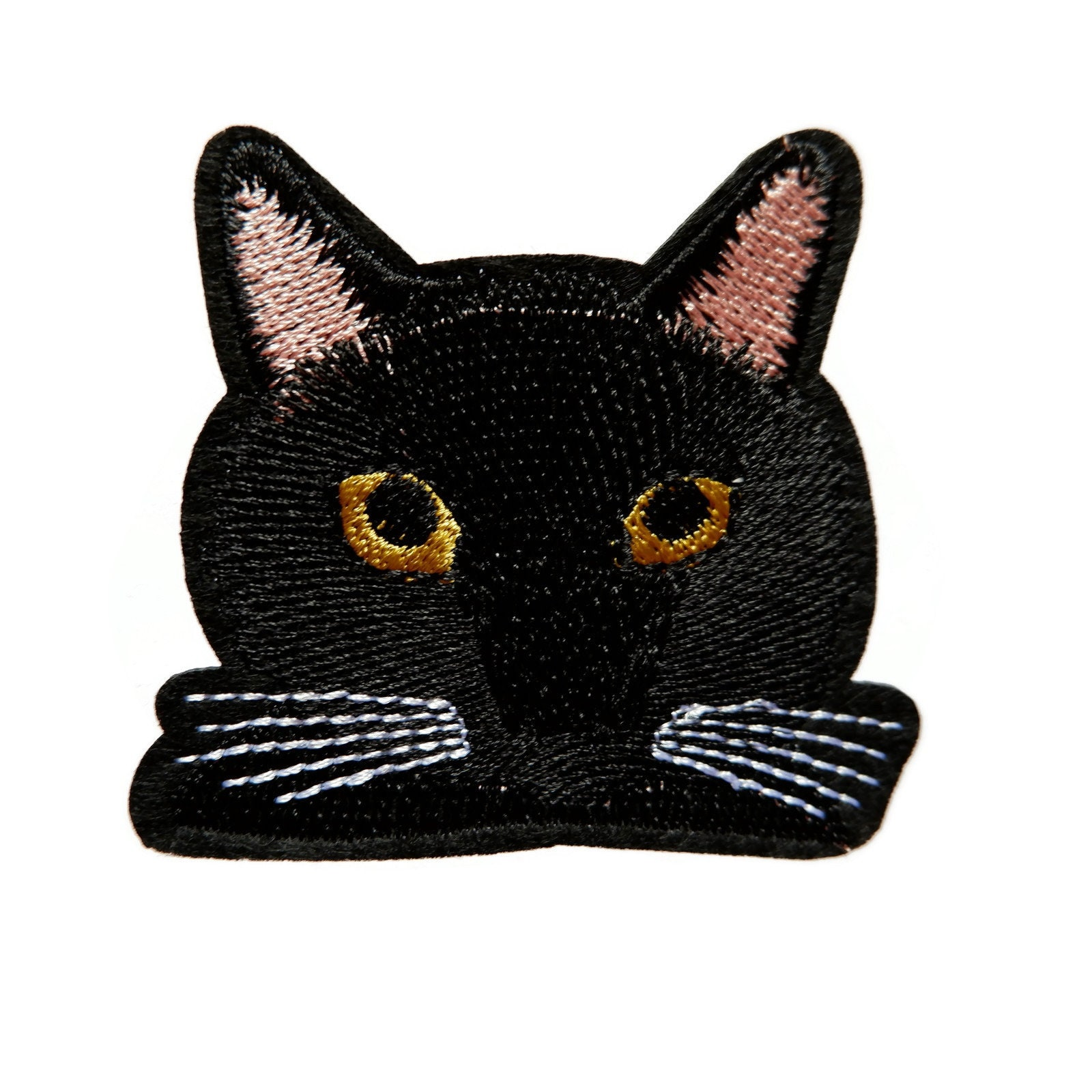 ID 3038A Fancy Black Cat Patch Kitten Kitty Pet Embroidered Iron On Applique
