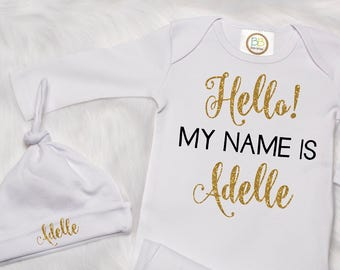 Newborn Coming Home Girl Outfit, Hello I'm New Outfit, Baby Gown, Custom Name Hospital Outfit, Baby Shower Gift, Gold Newborn Girl P33