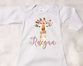 Watercolor Newborn Gown, Coming Home Outfit, Floral Baby Gown, Baby Girl Coming Home, Giraffe Baby Gown, Custom Newborn Gown, Baby Gift S20