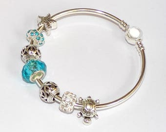 "BEAUTIFUL Silver Bangle Bracelet with Turquoise charms ""Pandora style"""