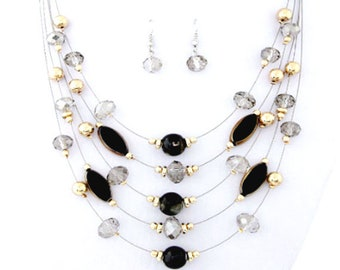 Multi strand necklace and earrings