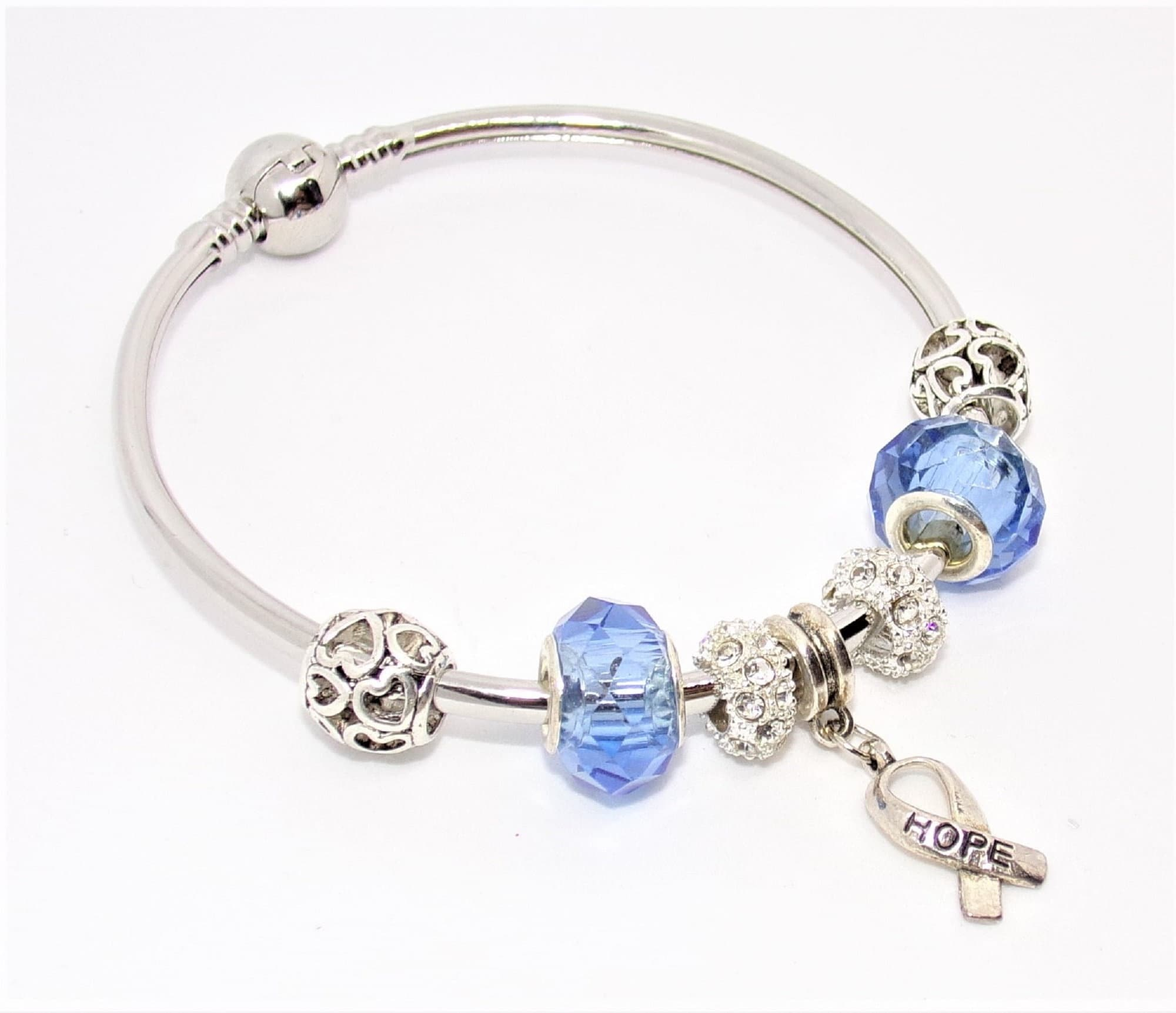 JONC bracelet with silver and blue Pandora style charms