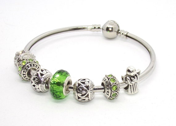 SUPERBE BRACELET JONC Silver with Green charms