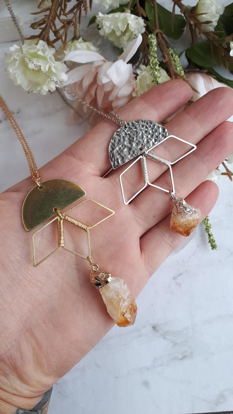 citrine geometric brass necklace,semi circle,silver,modern,yellow gemstone,electroplated,crystal,November birthstone,pendant,sun,moon,quartz
