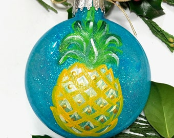 pineapple painted ornament hawaii ornament pineapple gift beach christmas decor florida ornament housewarming gift