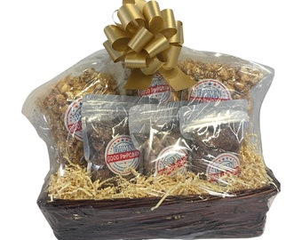 Nut Lovers Gift Basket Caramel Cashew Caramel Pecan Popcorn with Frosted Cashews Pecans Walnuts Gold Bow