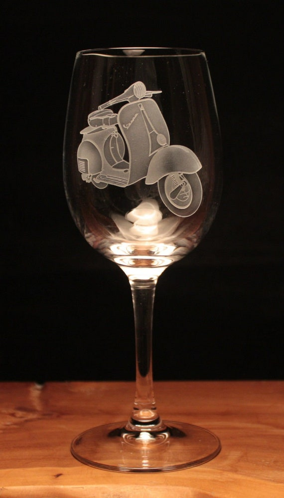 Lambretta Scooter Motorcycle Bike engraved Wine Glass gift present