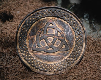 Triquetra with celtic knotwork handcarved wall décor