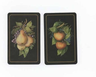 Set of 2 vintage Pear & Apple -swap cards-Playing cards-craft-scrapbook-ephemera-collectable P78