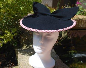 1950s style black saucer hat a9f035d00a3d